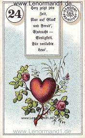 Herz, antikes Dondorf Lenormand mit Versen