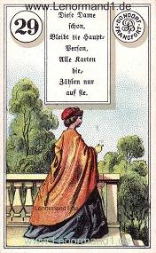 Dame, antikes Dondorf Lenormand mit Versen