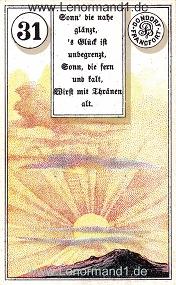 Sonne, antikes Dondorf Lenormand mit Versen