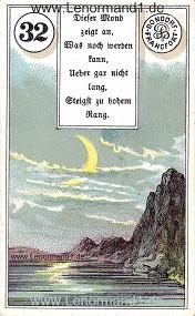 Mond, antikes Dondorf Lenormand mit Versen