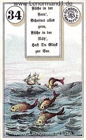 Fische, antikes Dondorf Lenormand mit Versen