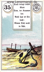 Anker, antikes Dondorf Lenormand mit Versen