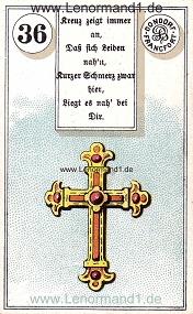 Kreuz, antikes Dondorf Lenormand mit Versen