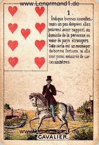 Reiter, antikes Petit Jeu de la Madame Lenormand