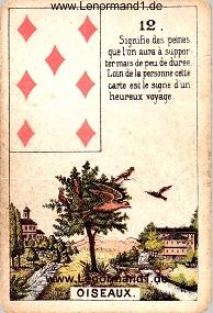 Vögel, antikes Petit Jeu de la Madame Lenormand