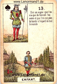 Kind, antikes Petit Jeu de la Madame Lenormand