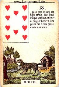 Hund, antikes Petit Jeu de la Madame Lenormand