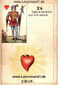 Herz, antikes Petit Jeu de la Madame Lenormand