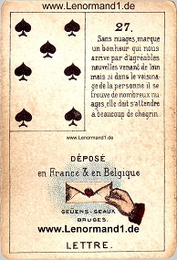 Brief, antikes Petit Jeu de la Madame Lenormand
