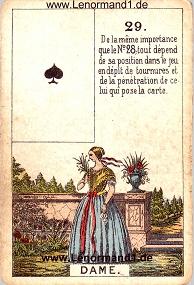 Dame, antikes Petit Jeu de la Madame Lenormand