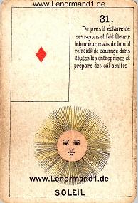 Sonne, antikes Petit Jeu de la Madame Lenormand