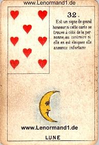 Mond, antikes Petit Jeu de la Madame Lenormand