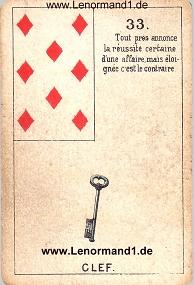 Schlüssel, antikes Petit Jeu de la Madame Lenormand