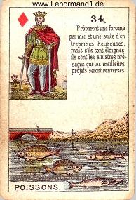 Fische, antikes Petit Jeu de la Madame Lenormand