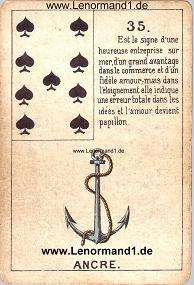 Anker, antikes Petit Jeu de la Madame Lenormand