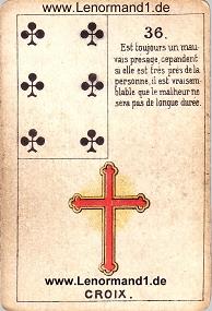 Kreuz, antikes Petit Jeu de la Madame Lenormand