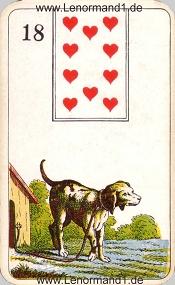 Hund, antikes Stralsunder Lenormand
